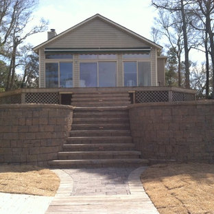 Retaining wall and paver patio on the beach