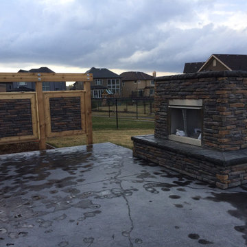 RIver Valley Outdoor Fireplace, Pergola & Privacy Screen
