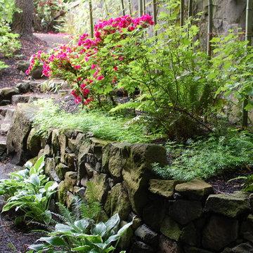 Rock Wall, Steps, Bamboo