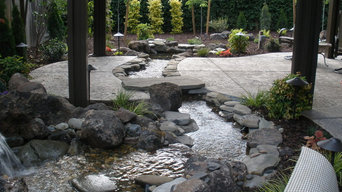 Rocklin Waterfall and Creek Running Through Patio