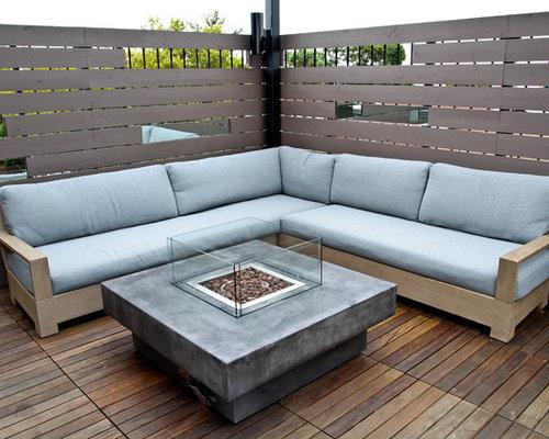 Grand Foyer Exterieur : Jardin sur toit moderne avec un foyer extérieur photos