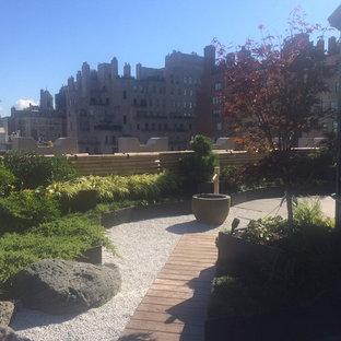 Ispirazione per un giardino formale etnico esposto in pieno sole di medie dimensioni e sul tetto con un giardino in vaso e ghiaia