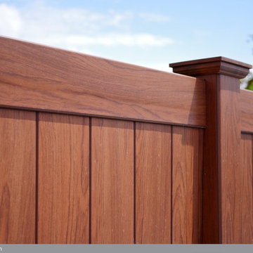 Rosewood PVC Vinyl Privacy Wood Grain Fence from Illusions Fence