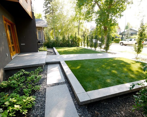 Contemporary Landscape Front Yard: Best Modern Front Yards Design Ideas & Remodel Pictures
