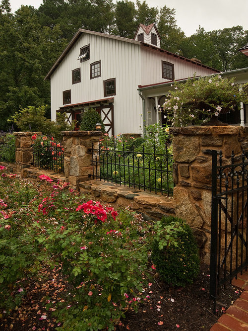 Stone And Iron Fence Home Design Ideas Pictures Remodel