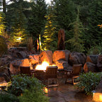 Outdoor Fire Pits Rustic Landscape Chicago By The