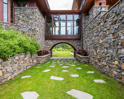 design ideas for a rustic courtyard stone landscaping in minneapolis - Courtyard Design Ideas