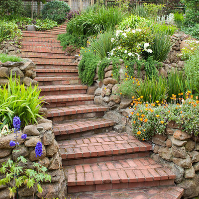 Photo of a traditional hillside brick landscaping in San Francisco.