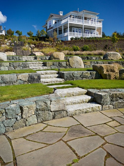 Tiered landscape with rocks houzz for Tiered garden designs