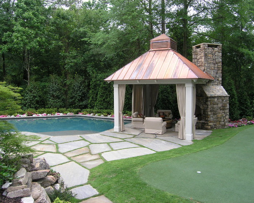 Gazebo fireplace houzz for Plans for gazebo with fireplace