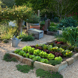 Mid-sized mediterranean garden in Santa Barbara with a vegetable garden.