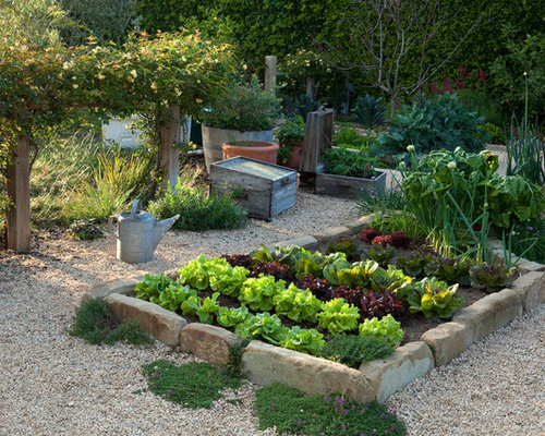 Mid Sized Mediterranean Garden In Santa Barbara With A Vegetable Garden.
