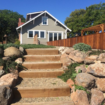 This is an example of a large farmhouse backyard landscaping in San Francisco.