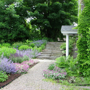 This is an example of a mid-sized beach style full sun front yard gravel garden path in New York.
