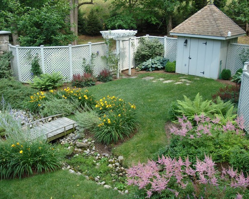 Landscaping Ideas To Hide Ugly Fence : Of a traditional backyard garden in other with water feature