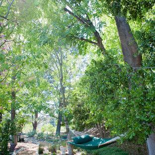 Geometrischer, Großer, Schattiger Rustikaler Garten im Frühling, hinter dem Haus mit Gartenweg und Natursteinplatten in Los Angeles