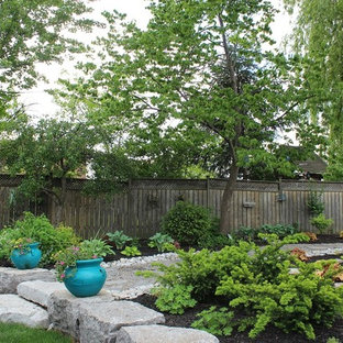 This is an example of a large traditional shade backyard stone garden path in Toronto.