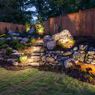 Design ideas for a large shabby-chic style partial sun backyard stone retaining wall landscape in Atlanta.