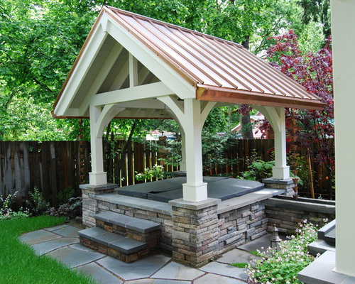 inspiration for a traditional landscape in portland - Hot Tub Enclosures