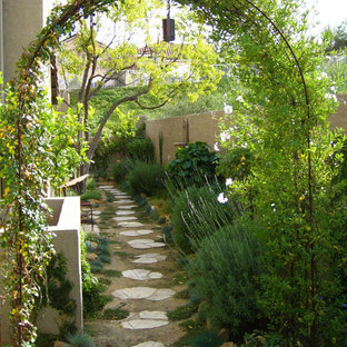 Design ideas for a mediterranean side yard landscaping in Los Angeles.