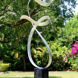 """Allure"" - Silver Contemporary Metal Abstract Sculpture by Jon Allen - Allure Silver Contemporary Metal Abstract Sculpture by Jon Allen"