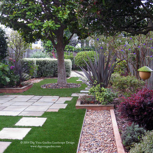 This is an example of a small contemporary shade and drought-tolerant backyard stone garden path in San Francisco for spring.