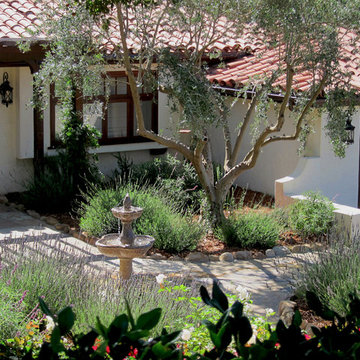 Small Spanish Cottage Landscaping in Montecito CA