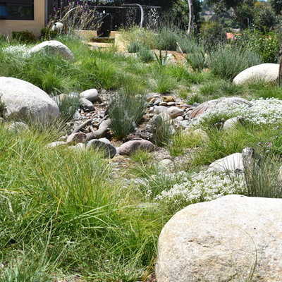 Design ideas for a large rustic drought-tolerant and full sun backyard gravel garden path in San Diego.
