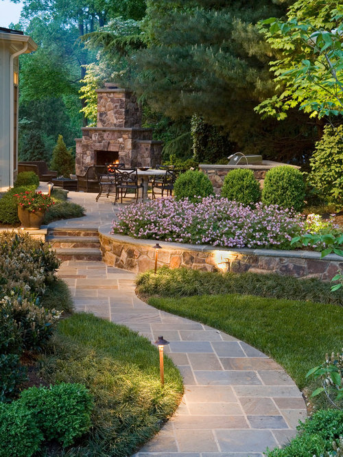 Photo Of A Large Traditional Backyard Stone Landscaping In DC Metro With A  Fire Pit.