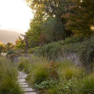 Photo of a huge mediterranean side yard stone garden path in San Francisco.