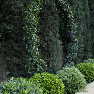 Ejemplo de jardín francés, mediterráneo, de tamaño medio, en patio trasero, con exposición total al sol y adoquines de piedra natural