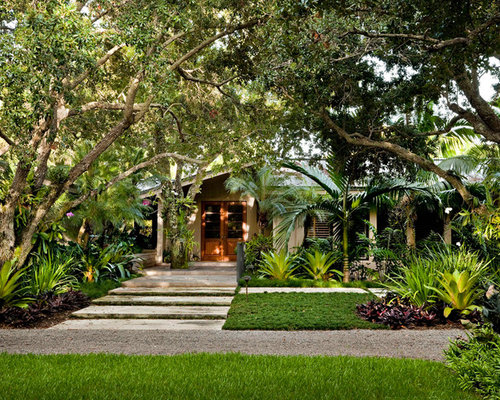 design ideas for a tropical front yard landscaping in miami