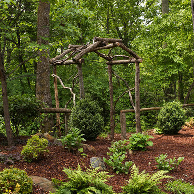 This is an example of a mid-sized rustic shade backyard landscaping in Charlotte for summer.