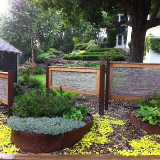Design ideas for a contemporary front yard landscaping in Minneapolis.
