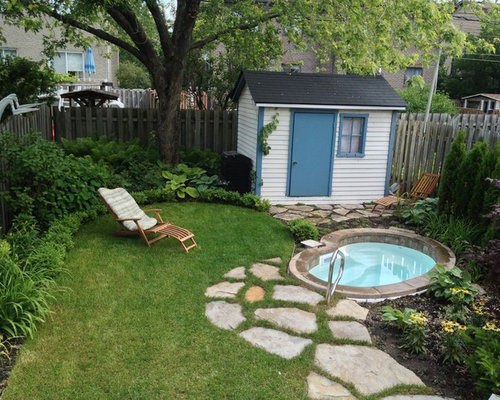 Hot Tub Ideas Backyard hot tub on deck Photo Of A Traditional Backyard Landscape In Montreal With Natural Stone Pavers
