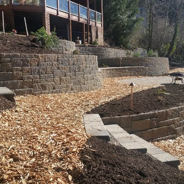 Specially designed backyard with retaining walls