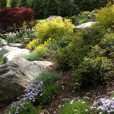 Photo of a mid-sized traditional full sun front yard stone landscaping in Boston.