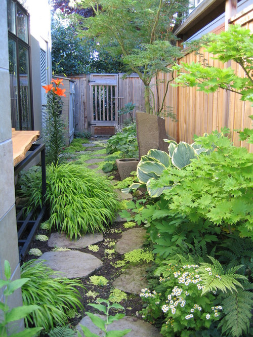 inspiration for a contemporary shade side yard stone landscaping in seattle