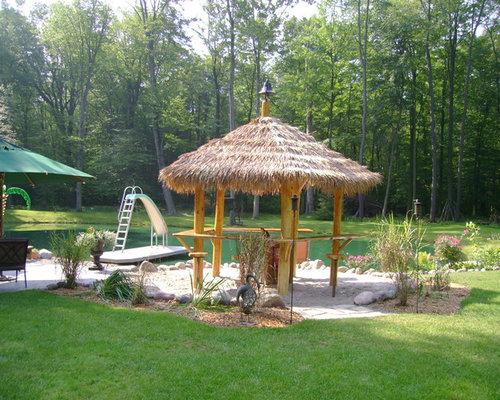 Thatched Roof Tiki Bar | Houzz on Backyard Tiki Hut Designs id=24005