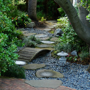 Design ideas for a traditional back fully shaded garden in San Francisco with a water feature and decorative stones.