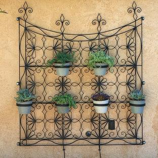 Idéer för stora eklektiska bakgårdar i full sol som tål torka på sommaren, med en vertikal trädgård