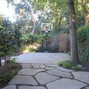 Großer Klassischer Garten hinter dem Haus mit Sportplatz in San Francisco