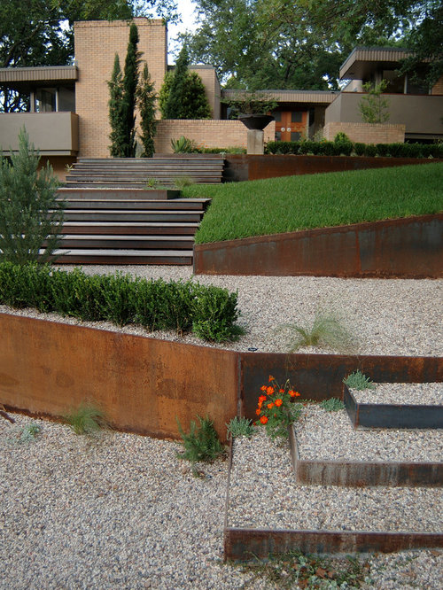 corten steel retaining wall home design ideas  pictures  remodel and decor