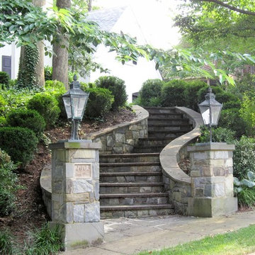 Stone Curving Steps w Lamp Posts & Walls