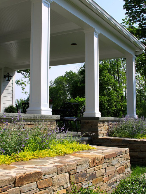Raised Patio With Steps: Stone Raised Patio With Overhead Roof Structure In Basking