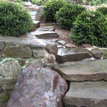 Stone staircase for Japanese-style home