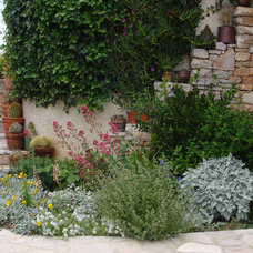 Mediterranean Landscape Stone wall and stairs