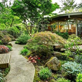 Schattiger Asiatischer Garten im Herbst, hinter dem Haus in Sacramento