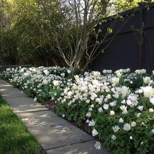 Diseño de jardín clásico, de tamaño medio, en patio delantero, con exposición total al sol y adoquines de piedra natural