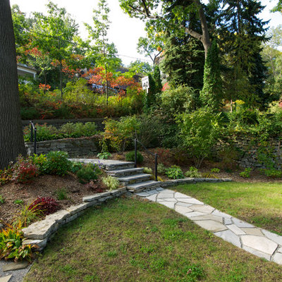 Photo of a traditional backyard stone landscaping in Toronto.